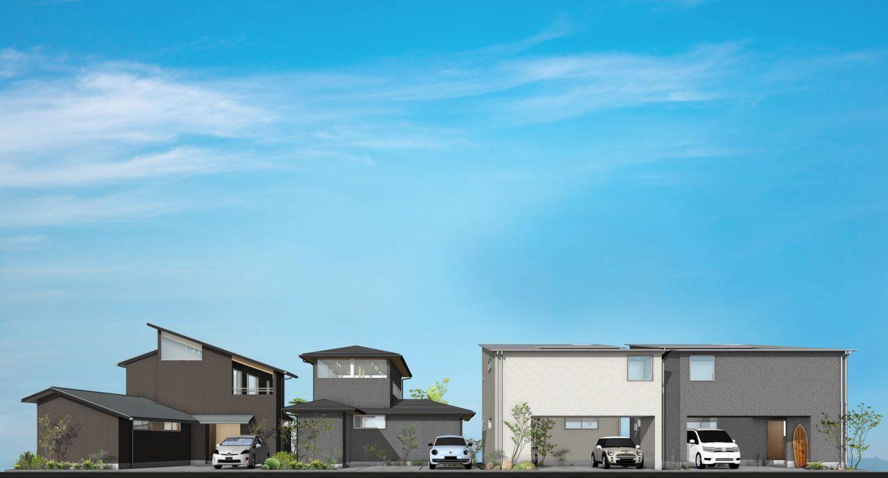 国富の家_4棟並び1600pix